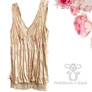 Ashley Stewart Gold Lace Trim Blouse